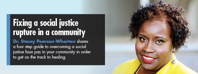Dr. Stacey Pearson-Wharton blog article: Fixing a social justice rupture in your community